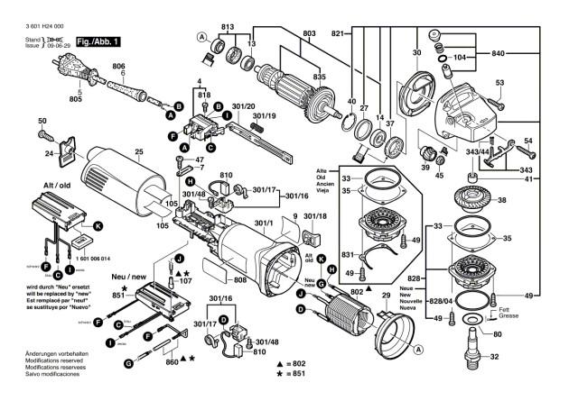 pieces detachees meuleuse bosch gws 14 125 ci pi ces. Black Bedroom Furniture Sets. Home Design Ideas